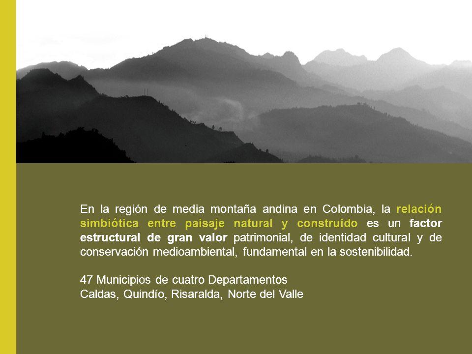 En la región de media montaña andina en Colombia, la relación simbiótica entre paisaje natural y construido es un factor estructural de gran valor pat