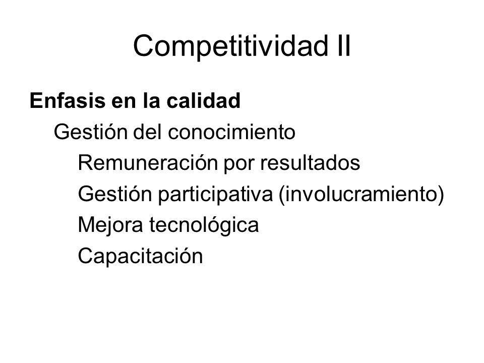 Competitividad II Enfasis en la calidad Gestión del conocimiento Remuneración por resultados Gestión participativa (involucramiento) Mejora tecnológic