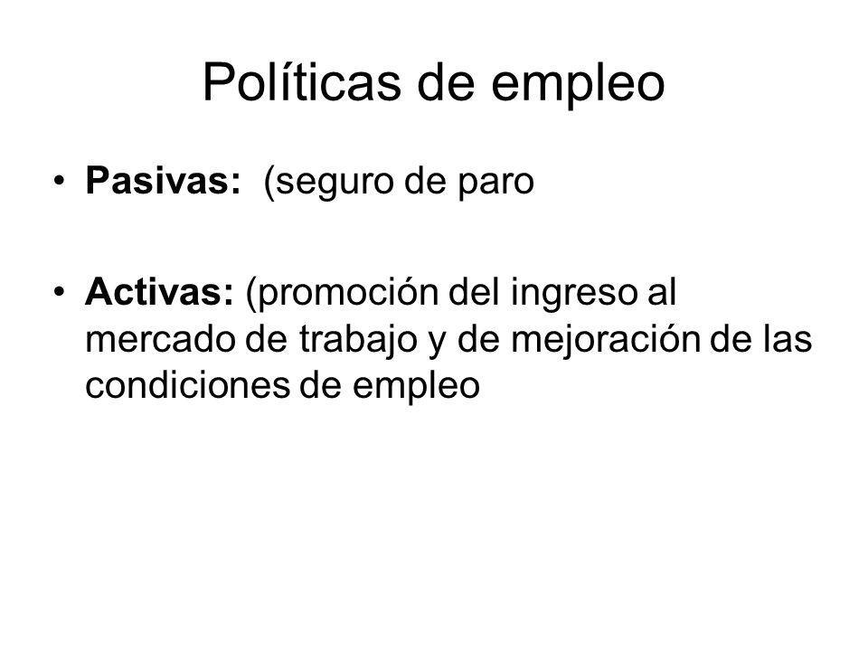 Políticas de empleo Pasivas: (seguro de paro Activas: (promoción del ingreso al mercado de trabajo y de mejoración de las condiciones de empleo