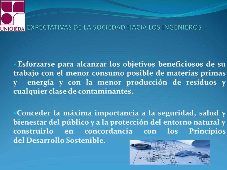 Esforzarse para alcanzar los objetivos beneficiosos de su trabajo con el menor consumo posible de materias primas y energía y con la menor producción de residuos y cualquier clase de contaminantes.