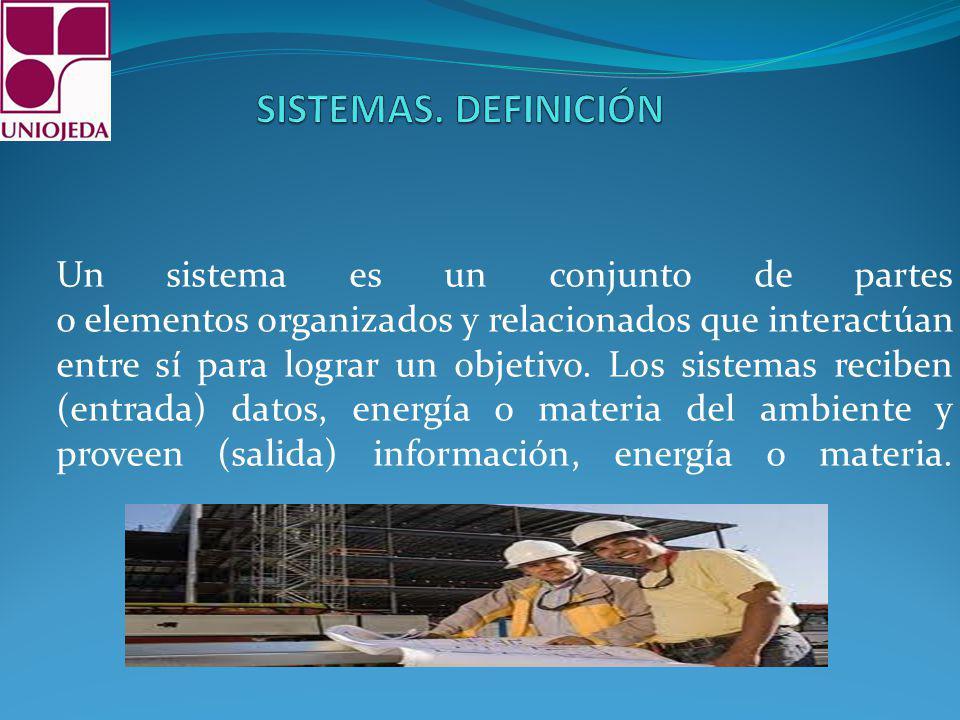 Un sistema es un conjunto de partes o elementos organizados y relacionados que interactúan entre sí para lograr un objetivo. Los sistemas reciben (ent