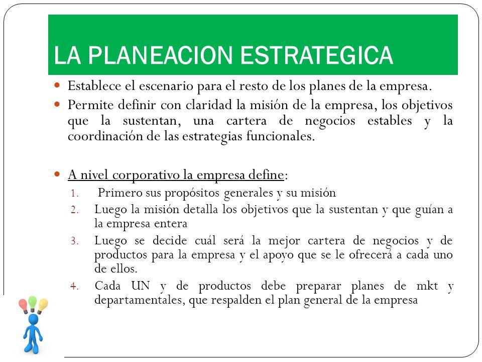 Establece el escenario para el resto de los planes de la empresa. Permite definir con claridad la misión de la empresa, los objetivos que la sustentan