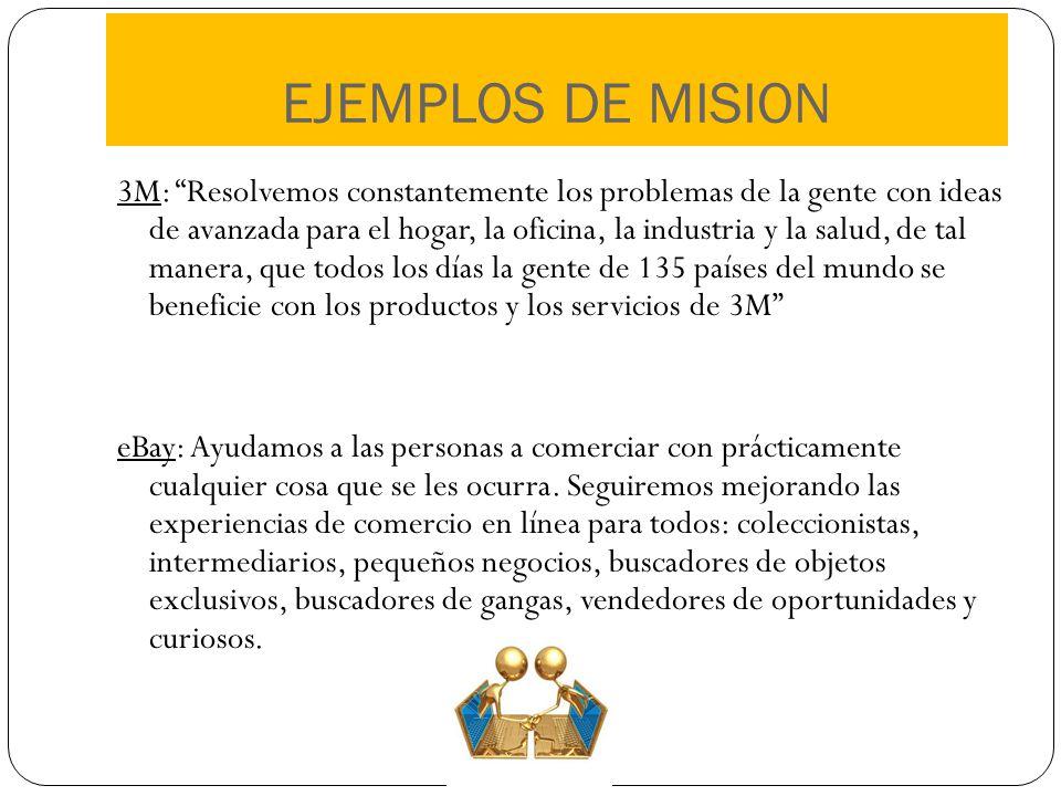 EJEMPLOS DE MISION 3M: Resolvemos constantemente los problemas de la gente con ideas de avanzada para el hogar, la oficina, la industria y la salud, d
