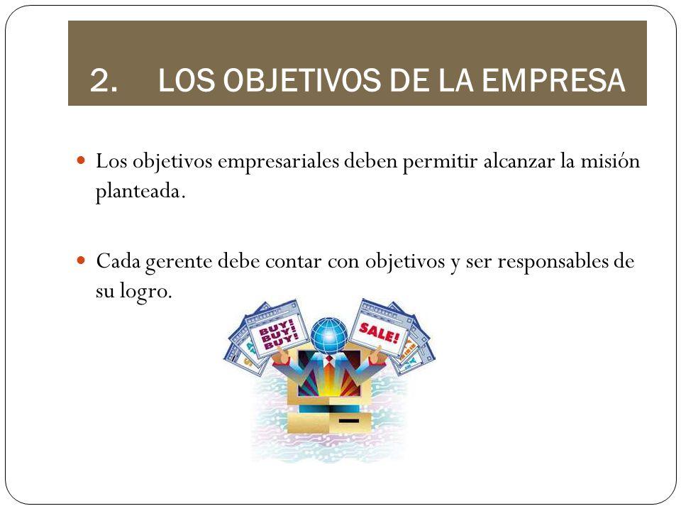 2.LOS OBJETIVOS DE LA EMPRESA Los objetivos empresariales deben permitir alcanzar la misión planteada. Cada gerente debe contar con objetivos y ser re