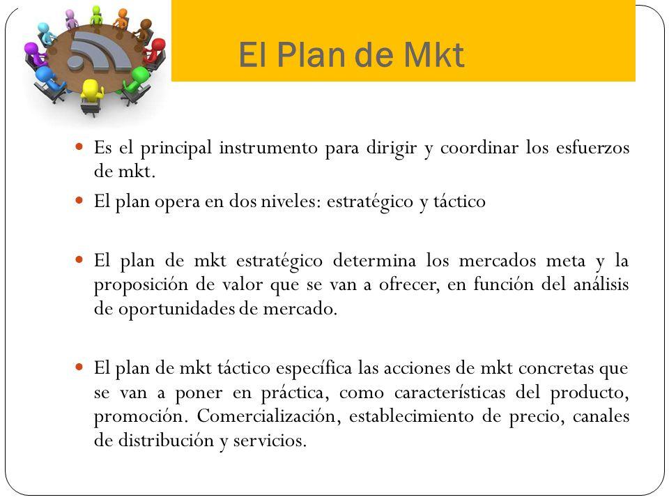El Plan de Mkt Es el principal instrumento para dirigir y coordinar los esfuerzos de mkt. El plan opera en dos niveles: estratégico y táctico El plan