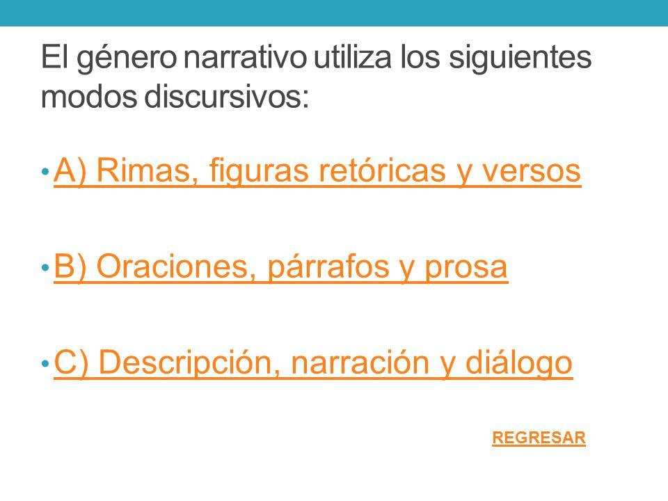 El género narrativo utiliza los siguientes modos discursivos: A) Rimas, figuras retóricas y versos B) Oraciones, párrafos y prosa C) Descripción, narr