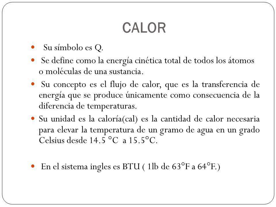 CALOR Su símbolo es Q. Se define como la energía cinética total de todos los átomos o moléculas de una sustancia. Su concepto es el flujo de calor, qu