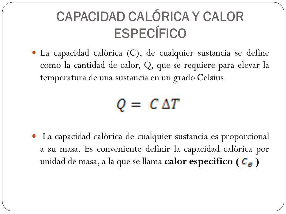 CAPACIDAD CALÓRICA Y CALOR ESPECÍFICO La capacidad calórica (C), de cualquier sustancia se define como la cantidad de calor, Q, que se requiere para e