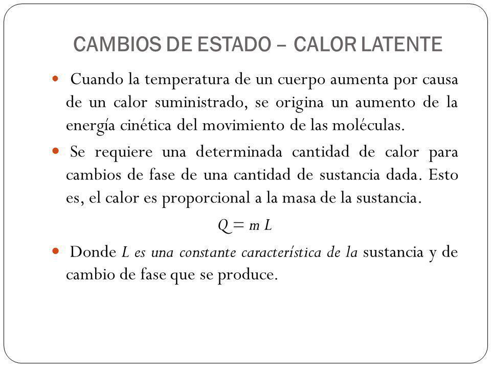 CAMBIOS DE ESTADO – CALOR LATENTE Cuando la temperatura de un cuerpo aumenta por causa de un calor suministrado, se origina un aumento de la energía c