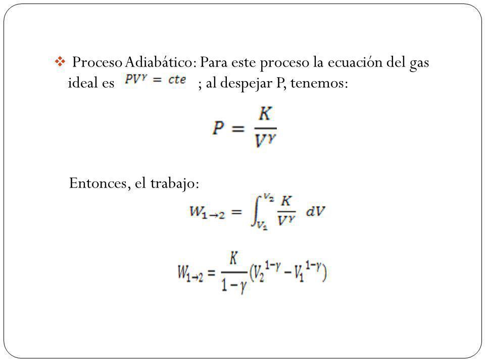 Proceso Adiabático: Para este proceso la ecuación del gas ideal es ; al despejar P, tenemos: Entonces, el trabajo: