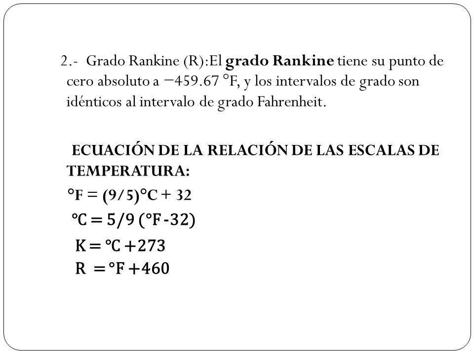 2.- Grado Rankine (R):El grado Rankine tiene su punto de cero absoluto a 459.67 °F, y los intervalos de grado son idénticos al intervalo de grado Fahr