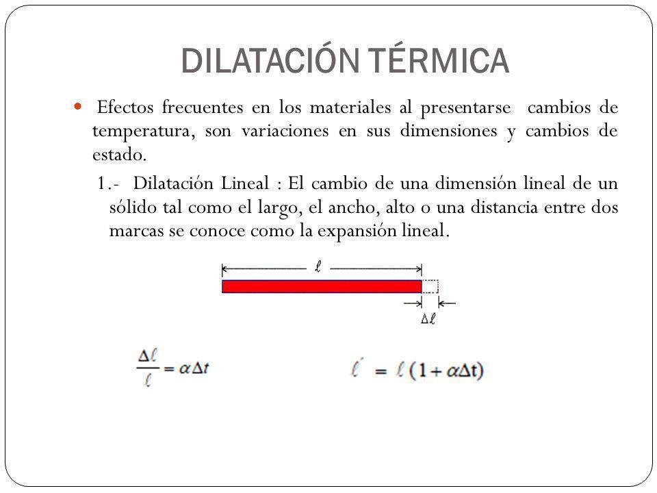 DILATACIÓN TÉRMICA Efectos frecuentes en los materiales al presentarse cambios de temperatura, son variaciones en sus dimensiones y cambios de estado.