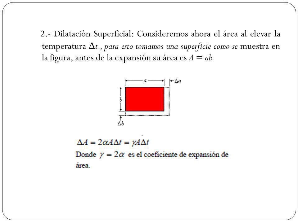 2.- Dilatación Superficial: Consideremos ahora el área al elevar la temperatura Δ t, para esto tomamos una superficie como se muestra en la figura, an