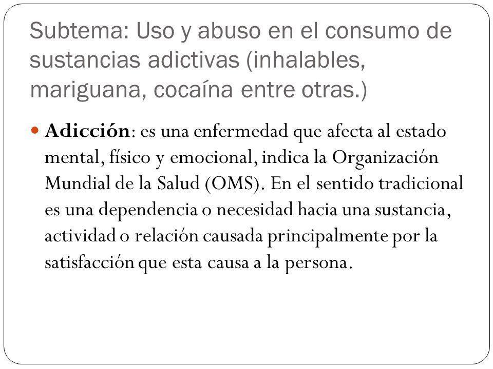 Subtema: Uso y abuso en el consumo de sustancias adictivas (inhalables, mariguana, cocaína entre otras.) Adicción: es una enfermedad que afecta al est