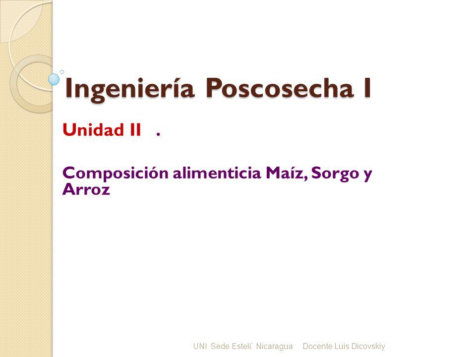 Ingeniería Poscosecha I Unidad II. Composición alimenticia Maíz, Sorgo y Arroz UNI. Sede Estelí. NicaraguaDocente Luis Dicovskiy