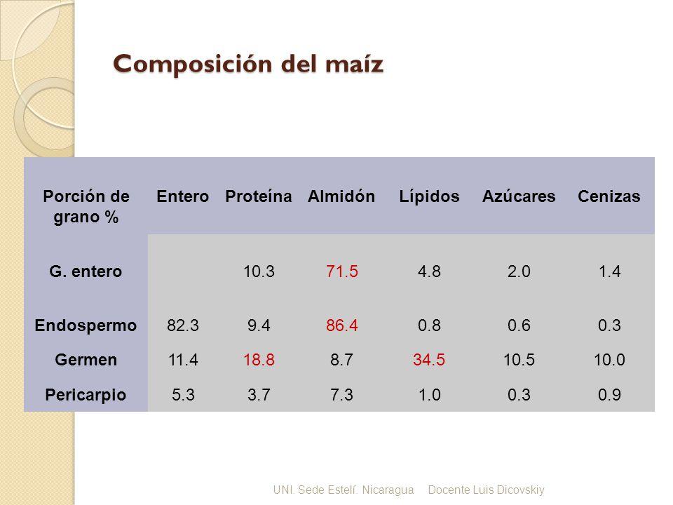Composición del maíz Composición química del grano. Porción de grano % EnteroProteínaAlmidónLípidosAzúcaresCenizas G. entero10.371.54.82.01.4 Endosper