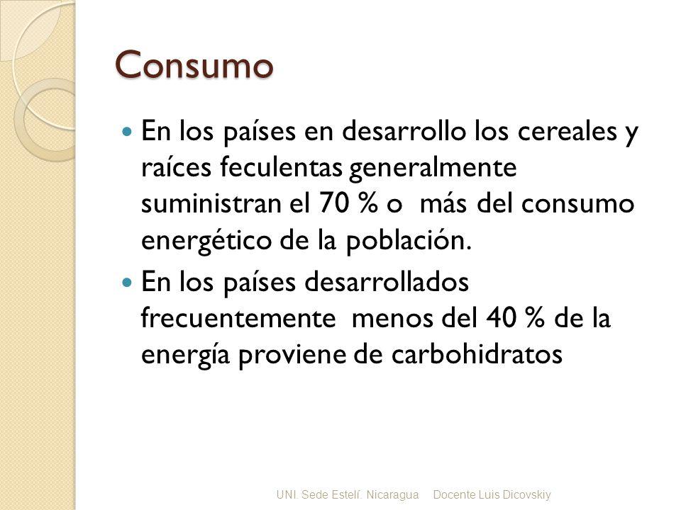 Consumo En los países en desarrollo los cereales y raíces feculentas generalmente suministran el 70 % o más del consumo energético de la población.