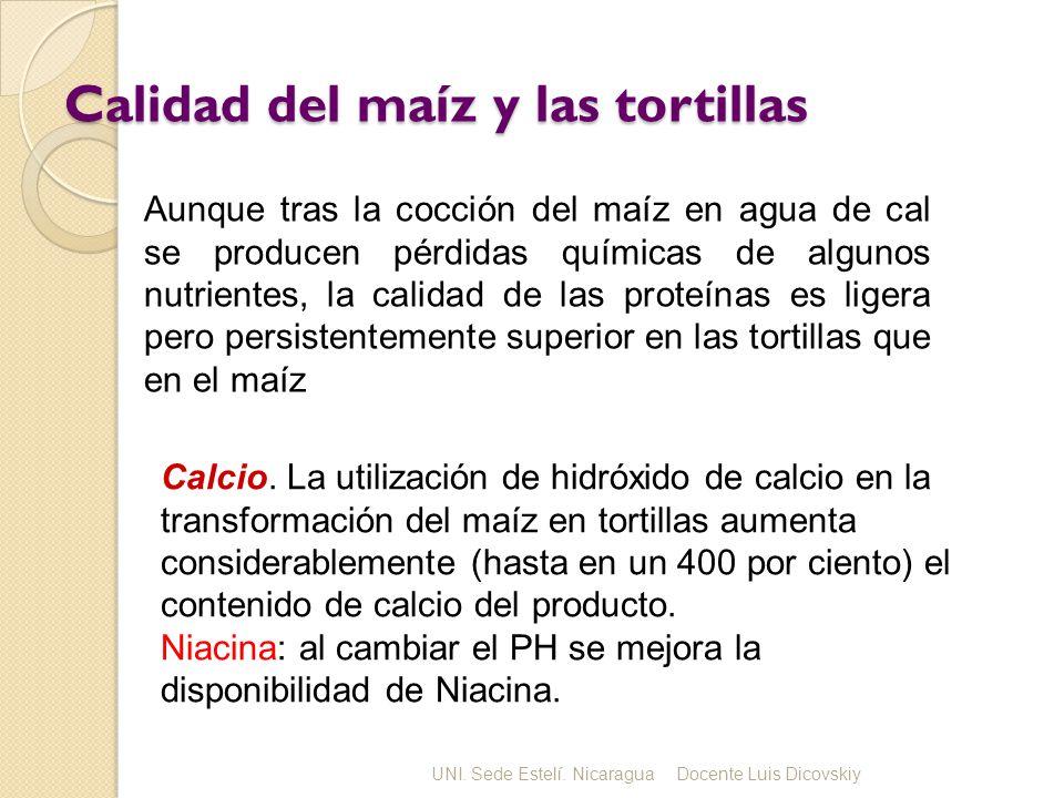 Calidad del maíz y las tortillas Calcio. La utilización de hidróxido de calcio en la transformación del maíz en tortillas aumenta considerablemente (h