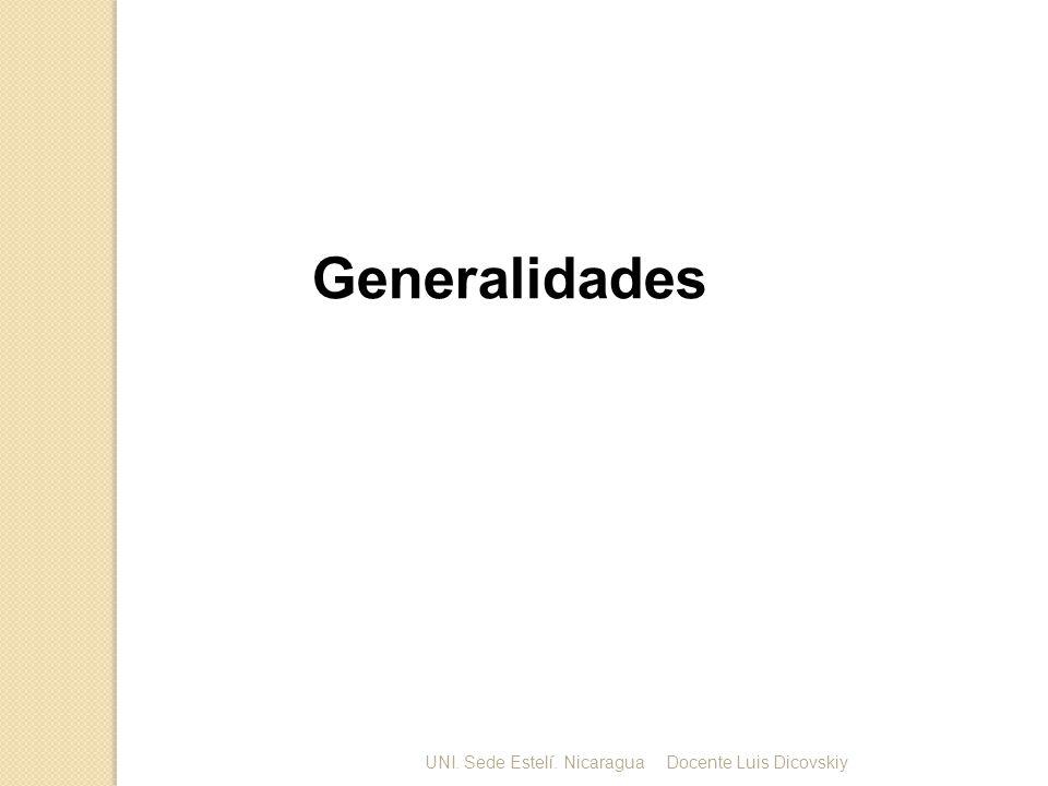 Generalidades UNI. Sede Estelí. NicaraguaDocente Luis Dicovskiy