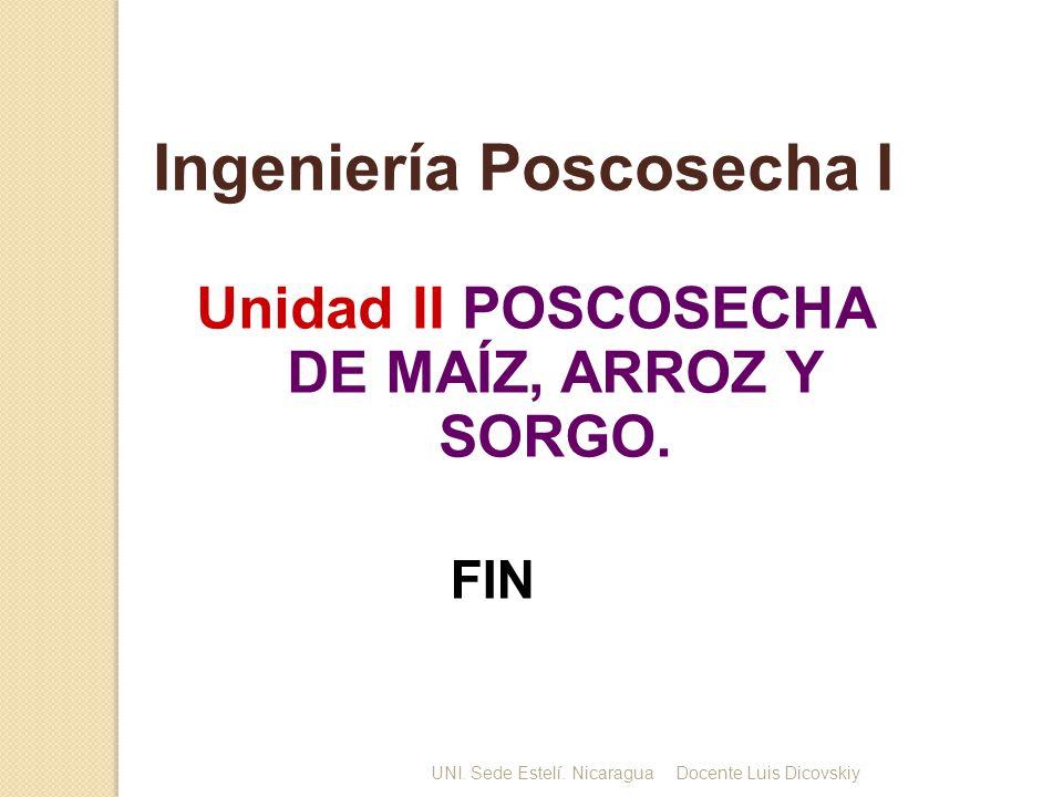 Unidad II POSCOSECHA DE MAÍZ, ARROZ Y SORGO. Ingeniería Poscosecha I FIN UNI. Sede Estelí. NicaraguaDocente Luis Dicovskiy