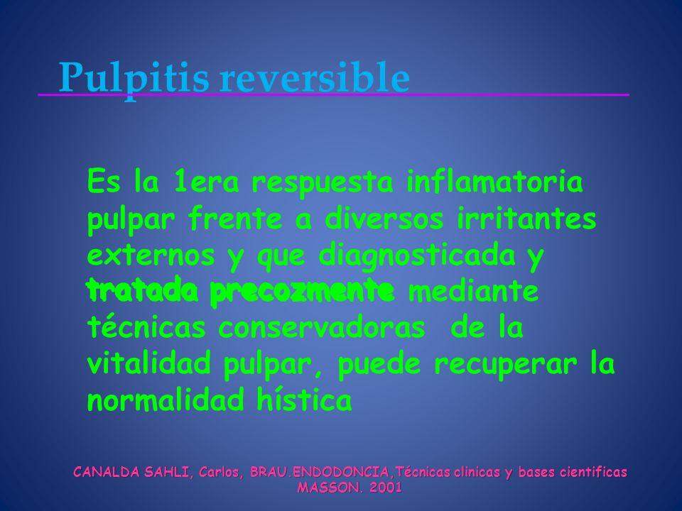 Pulpitis reversible CANALDA SAHLI, Carlos, BRAU.ENDODONCIA,Técnicas clinicas y bases cientificas MASSON.
