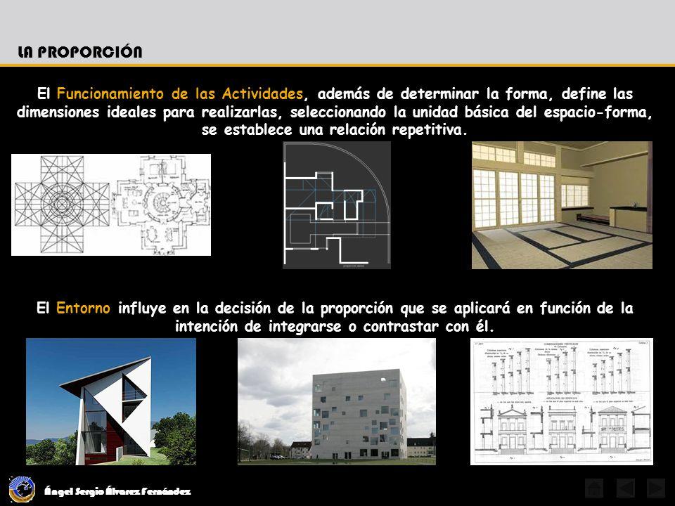 Ángel Sergio Álvarez Fernández LA PROPORCIÓN El Funcionamiento de las Actividades, además de determinar la forma, define las dimensiones ideales para realizarlas, seleccionando la unidad básica del espacio-forma, se establece una relación repetitiva.
