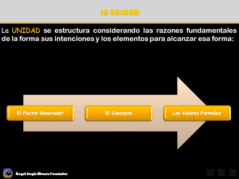 Ángel Sergio Álvarez Fernández La UNIDAD, como calidad integradora, se alcanza aplicando los valores formales determinados en el concepto y congruentes con el carácter: Por Forma Mórfica Por Color Cromática Por Materiales Óptico-Háptica