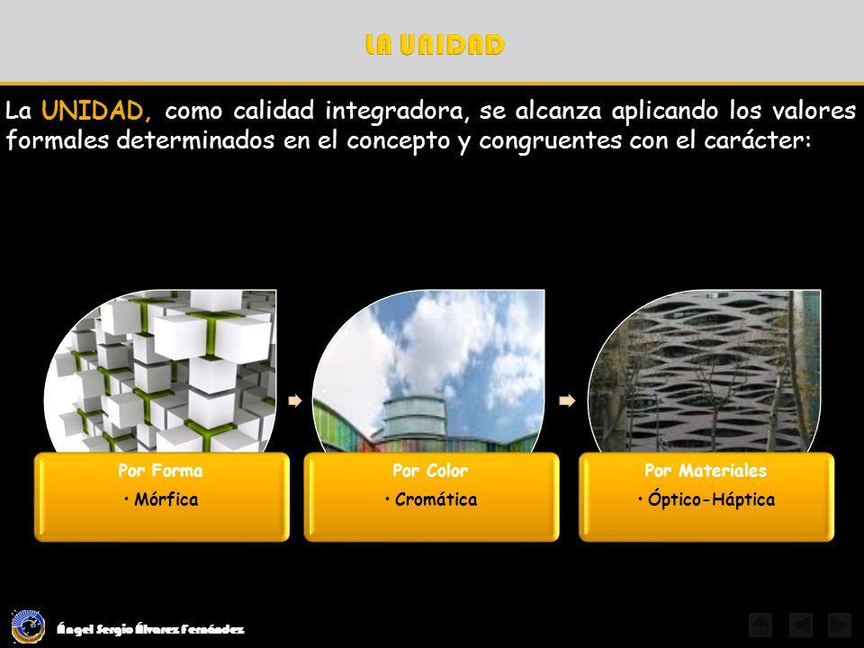 Ángel Sergio Álvarez Fernández LA PROPORCIÓN Son aquellas en las que las relaciones son múltiplos de un módulo, es variable y definida por el diseñador Es la relación dimensional que existe en la composición de los espacios-forma; en sus elementos, consigo mismos y entre éstos y el todo.