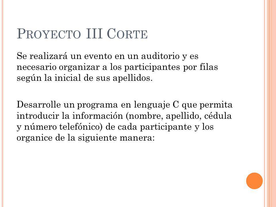 P ROYECTO III C ORTE Se realizará un evento en un auditorio y es necesario organizar a los participantes por filas según la inicial de sus apellidos.