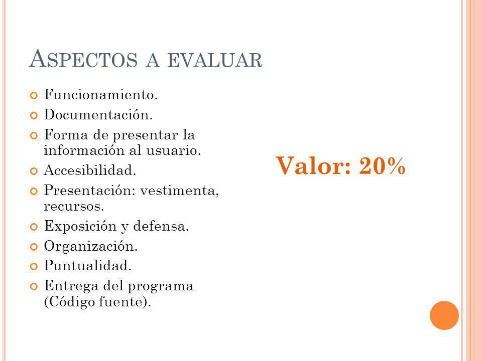 A SPECTOS A EVALUAR Funcionamiento. Documentación.
