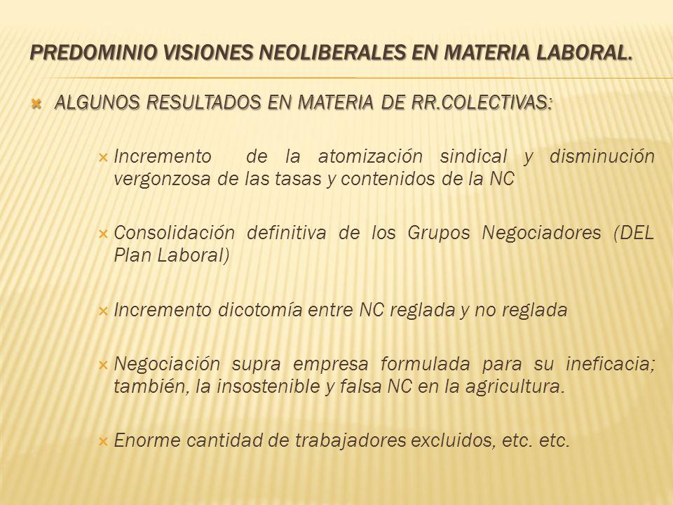 PREDOMINIO VISIONES NEOLIBERALES EN MATERIA LABORAL. ALGUNOS RESULTADOS EN MATERIA DE RR.COLECTIVAS: ALGUNOS RESULTADOS EN MATERIA DE RR.COLECTIVAS: I