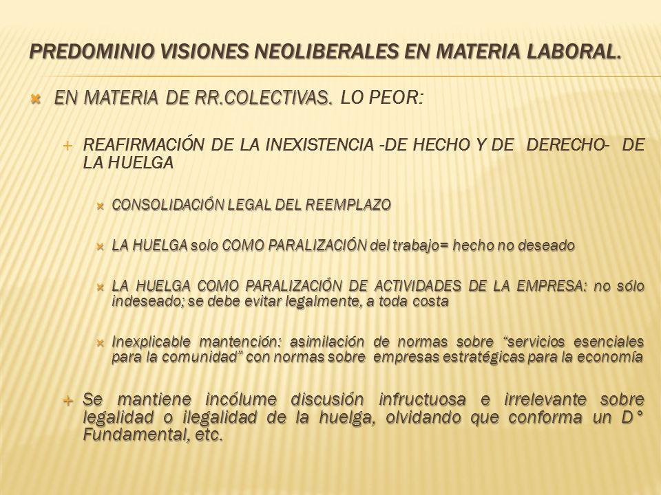 PREDOMINIO VISIONES NEOLIBERALES EN MATERIA LABORAL. EN MATERIA DE RR.COLECTIVAS. EN MATERIA DE RR.COLECTIVAS. LO PEOR: REAFIRMACIÓN DE LA INEXISTENCI