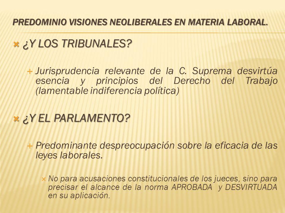 PREDOMINIO VISIONES NEOLIBERALES EN MATERIA LABORAL. ¿Y LOS TRIBUNALES? ¿Y LOS TRIBUNALES? Jurisprudencia relevante de la C. Suprema desvirtúa esencia
