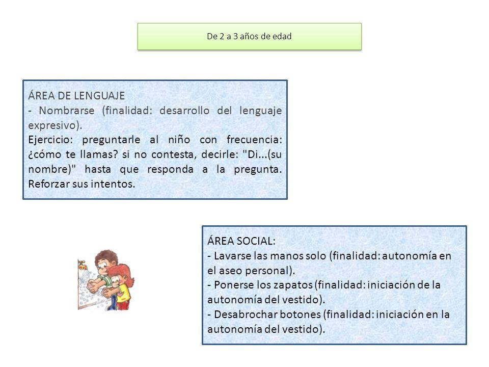 ÁREA DE LENGUAJE - Nombrarse (finalidad: desarrollo del lenguaje expresivo). Ejercicio: preguntarle al niño con frecuencia: ¿cómo te llamas? si no con