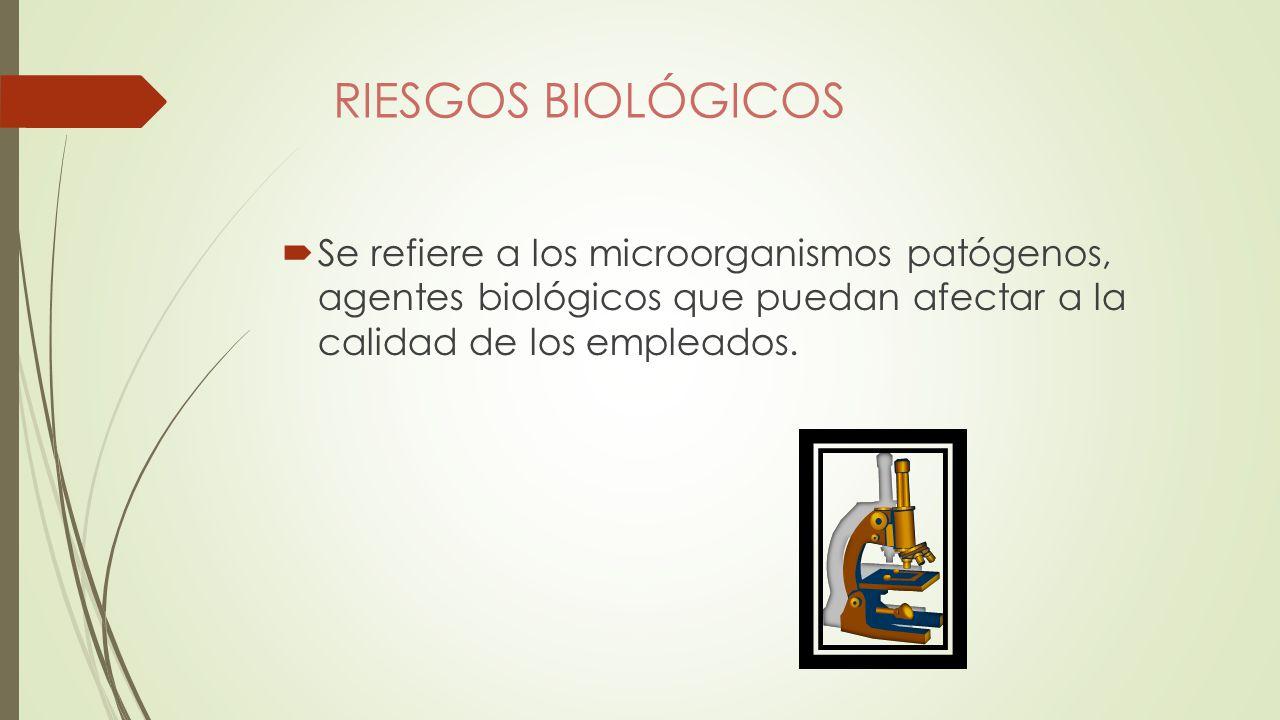 RIESGOS BIOLÓGICOS Se refiere a los microorganismos patógenos, agentes biológicos que puedan afectar a la calidad de los empleados.