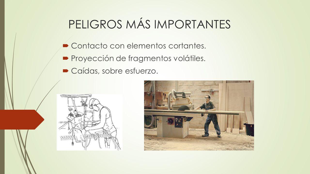 PELIGROS MÁS IMPORTANTES Contacto con elementos cortantes.