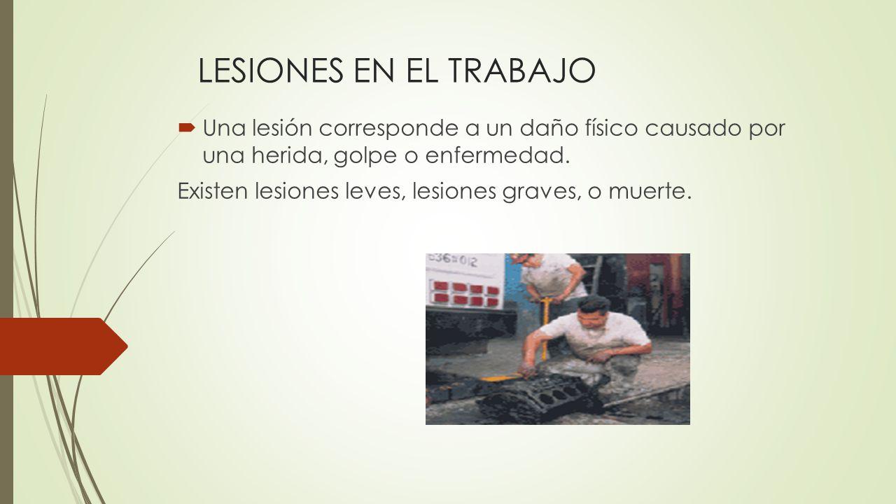 LESIONES EN EL TRABAJO Una lesión corresponde a un daño físico causado por una herida, golpe o enfermedad.