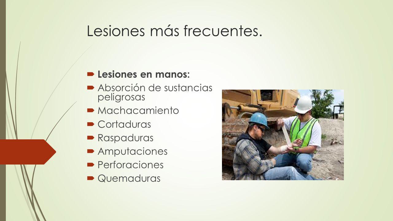 Lesiones más frecuentes.