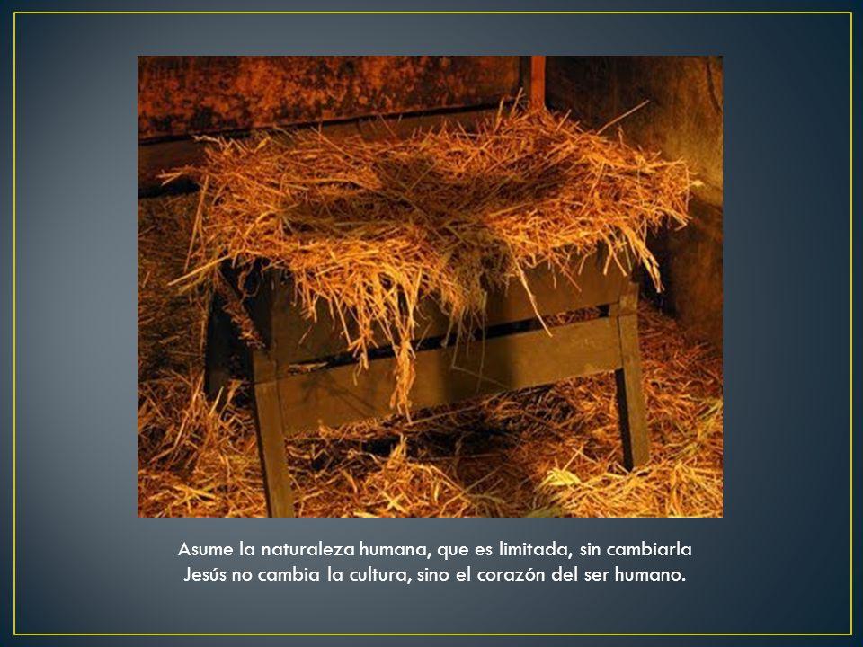 Asume la naturaleza humana, que es limitada, sin cambiarla Jesús no cambia la cultura, sino el corazón del ser humano.