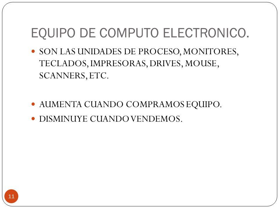 EQUIPO DE COMPUTO ELECTRONICO.