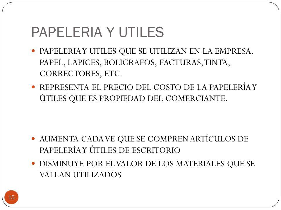 PAPELERIA Y UTILES 15 PAPELERIA Y UTILES QUE SE UTILIZAN EN LA EMPRESA.