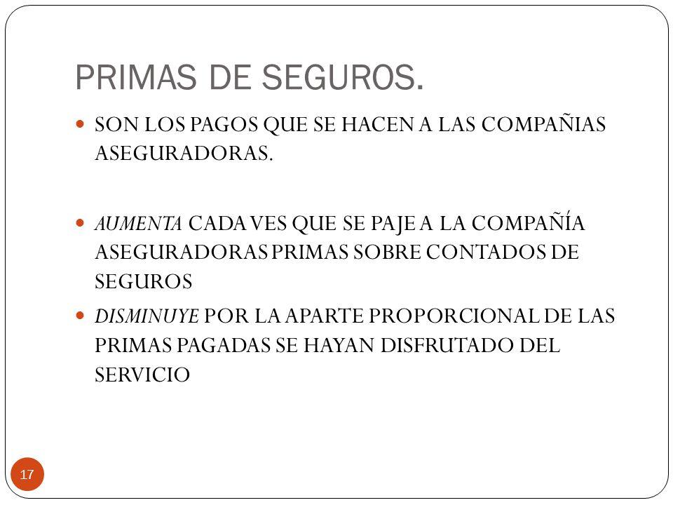 PRIMAS DE SEGUROS.17 SON LOS PAGOS QUE SE HACEN A LAS COMPAÑIAS ASEGURADORAS.