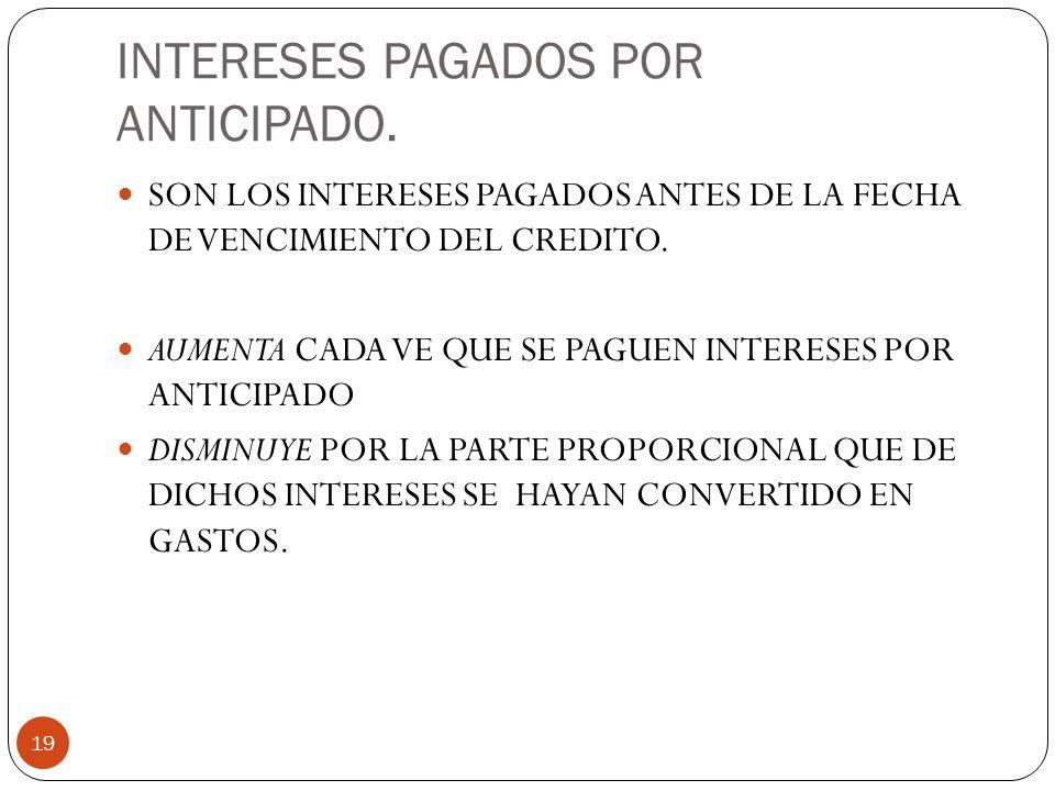 INTERESES PAGADOS POR ANTICIPADO.