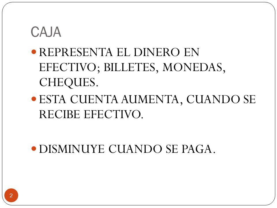 CAJA 2 REPRESENTA EL DINERO EN EFECTIVO; BILLETES, MONEDAS, CHEQUES.