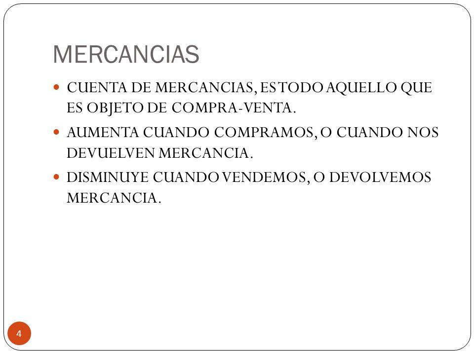MERCANCIAS 4 CUENTA DE MERCANCIAS, ES TODO AQUELLO QUE ES OBJETO DE COMPRA-VENTA.