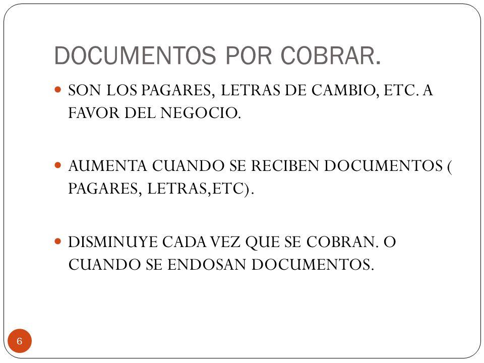 DOCUMENTOS POR COBRAR.6 SON LOS PAGARES, LETRAS DE CAMBIO, ETC.