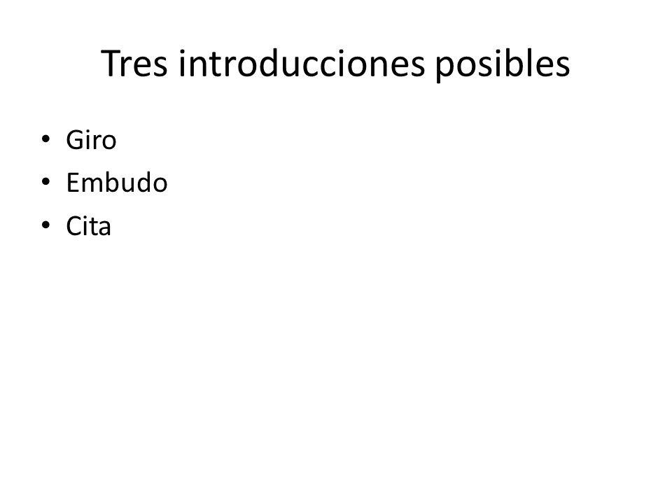 Tres introducciones posibles Giro Embudo Cita