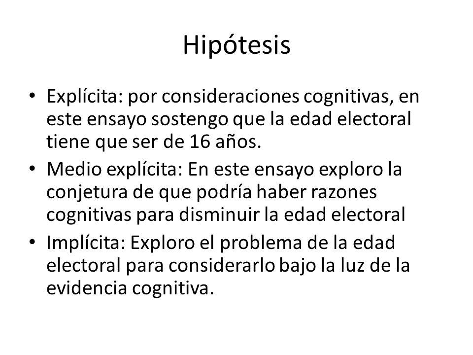Hipótesis Explícita: por consideraciones cognitivas, en este ensayo sostengo que la edad electoral tiene que ser de 16 años. Medio explícita: En este