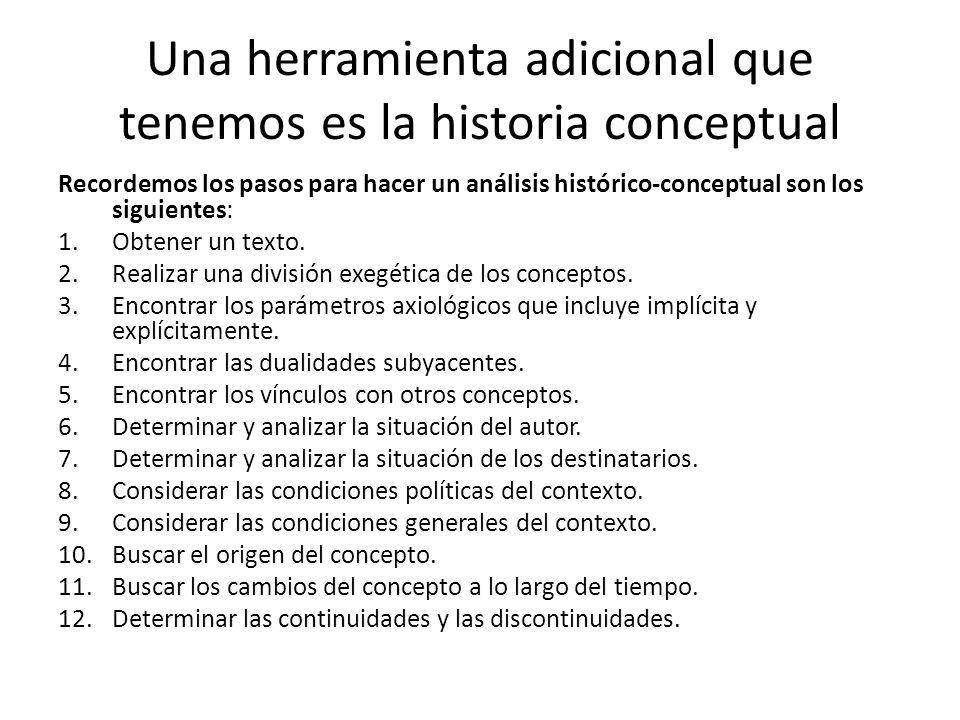 Una herramienta adicional que tenemos es la historia conceptual Recordemos los pasos para hacer un análisis histórico-conceptual son los siguientes: 1