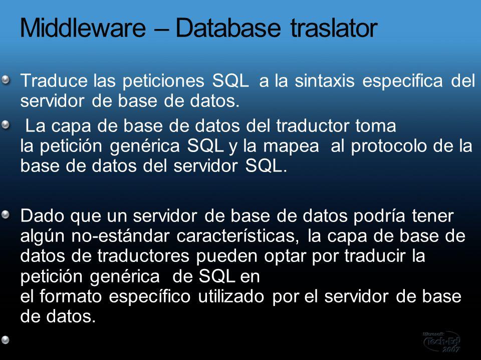 Traduce las peticiones SQL a la sintaxis especifica del servidor de base de datos.